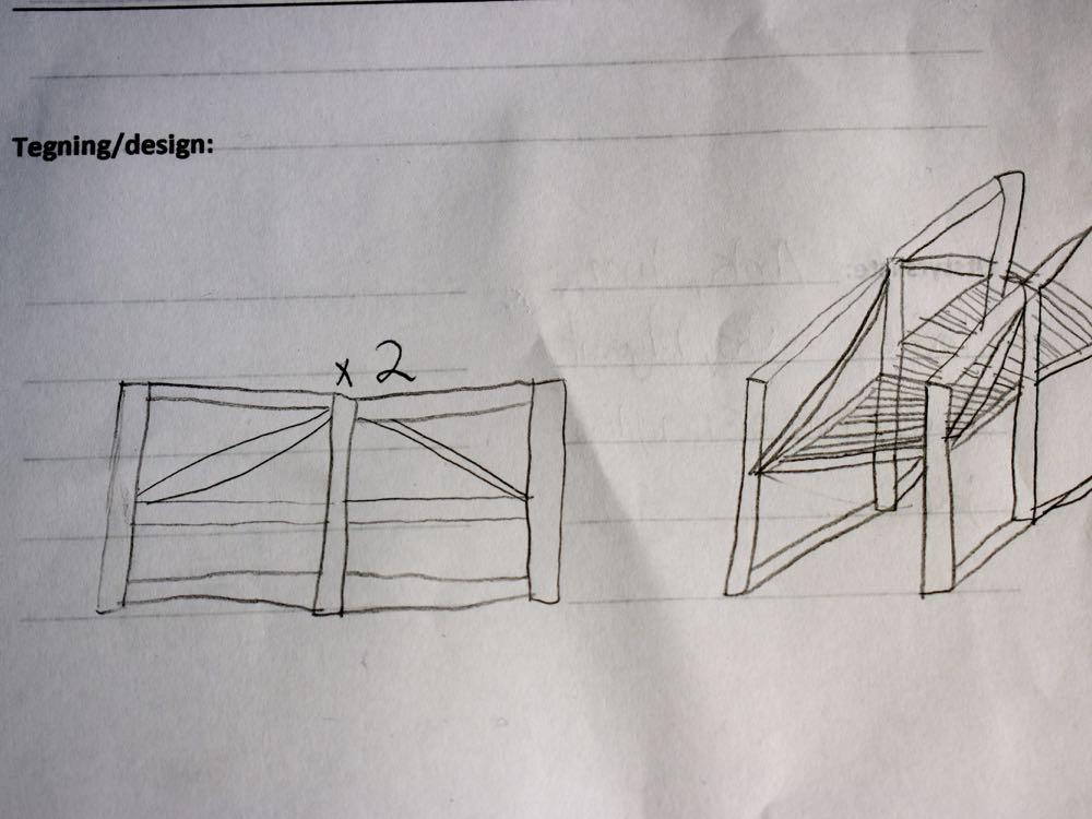 Konstruksjonen skal planlegges før bygging. Her ser dere en arbeidstgning.
